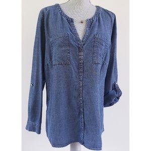 Washed Roll Sleeve Denim Tunic Shirt Blouse 14W